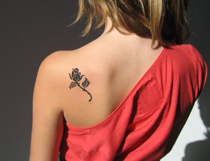 small rose, shoulder tattoo, tattoos for girls on hand, pink top, blonde hair