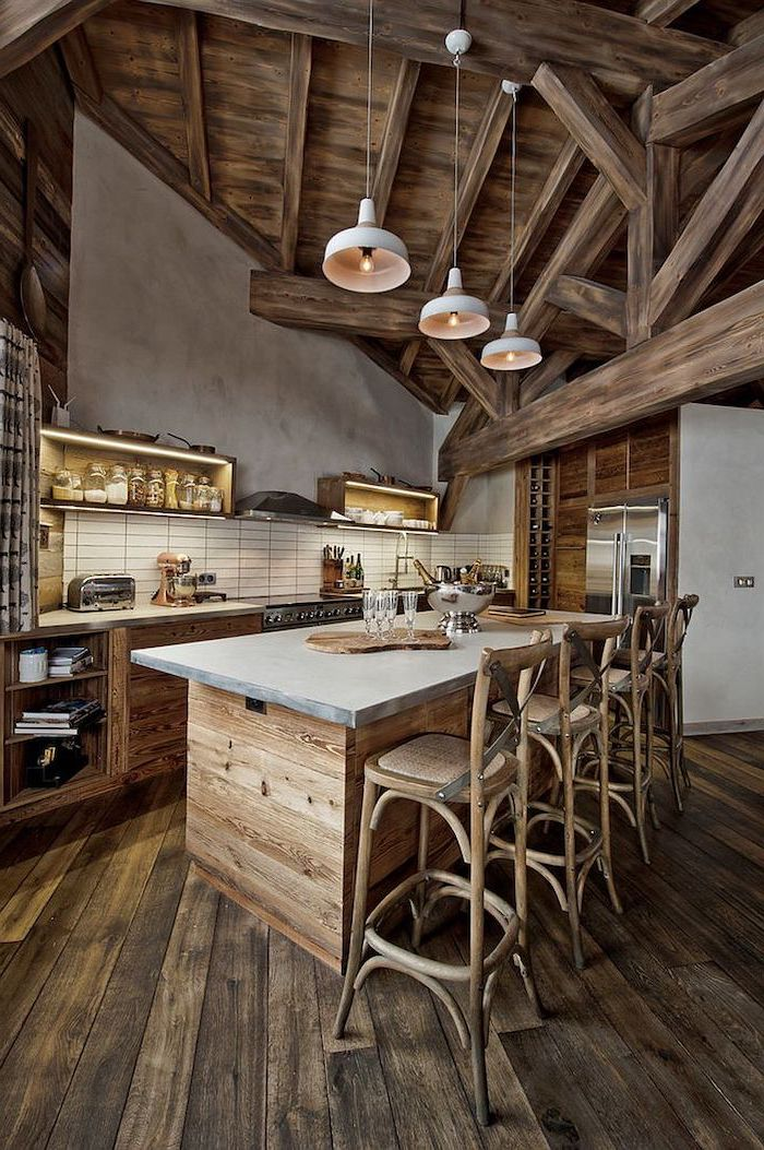 rustic style, wooden floor and ceiling, kitchen island cabinets, subway tiles backsplash, wooden bar stools