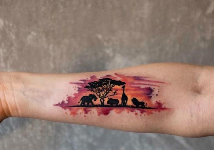 savana watercolour landscape, cool arm tattoos, tree and sunset, elephant and rhino, giraffe and lion