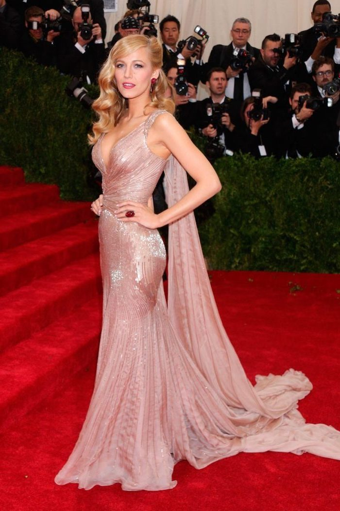 blake lively, on the red carpet, fashion museum nyc, long blonde curly hair, long nude sequinned dress