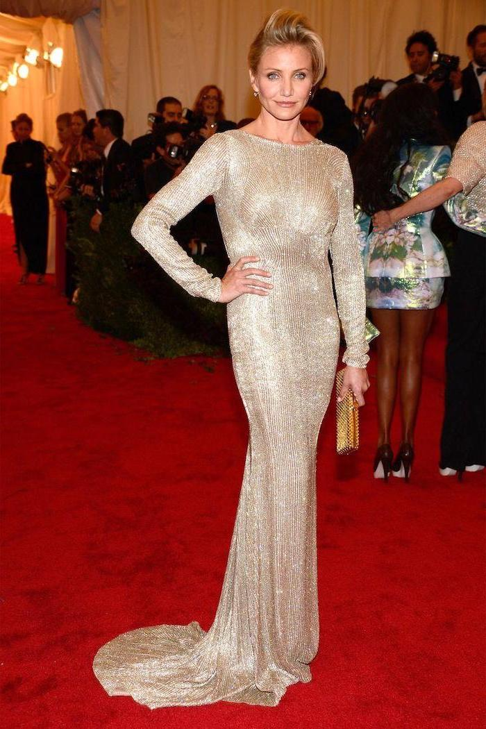 cameron diaz, on the red carpet, what is the met gala, gold sequinned dress, with long sleeves