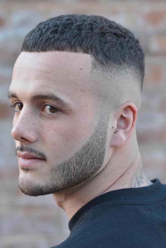black short hair, black shirt, modern haircuts for men, back tattoo