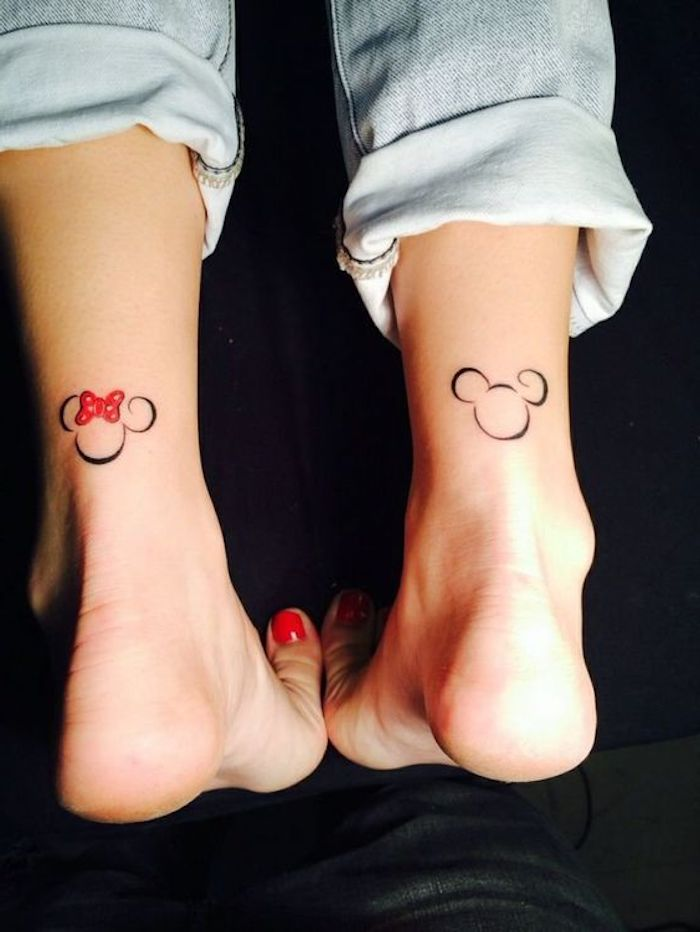 washed jeans, mickey and minnie mouse, ankle tattoos, tattoos for girls on hand, red nail polish