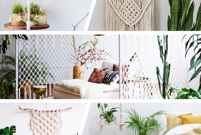 side by side photos, photo collage, macrame wall hanging, different macrame ideas