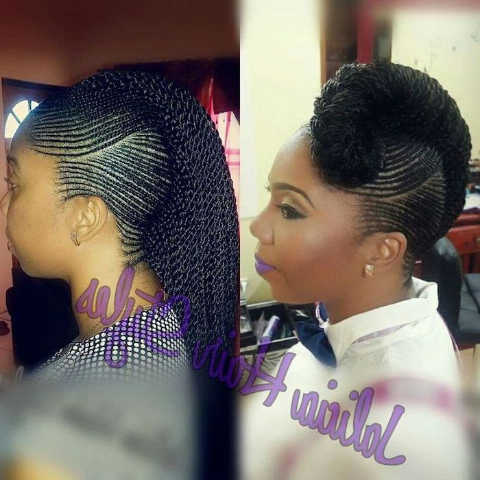 side braids with weave, two different hairstyles, in side by side photos, on black hair