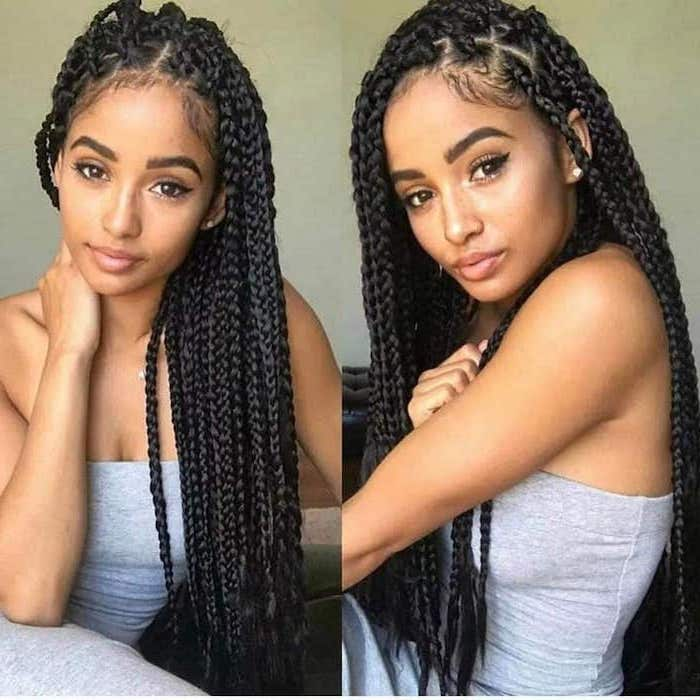 girl with grey top, black hair, side braids with weave, side by side photos