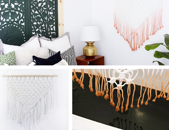 white walls, woven wall hanging, side by side photos, photo collage, wooden side table