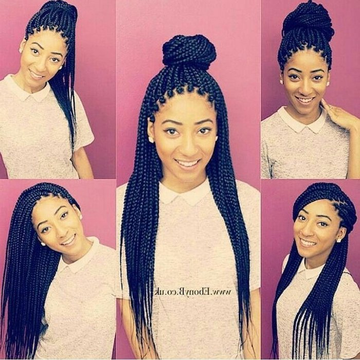 side by side photos, of different hairstyles, on long black hair, nigerian cornrow hairstyles