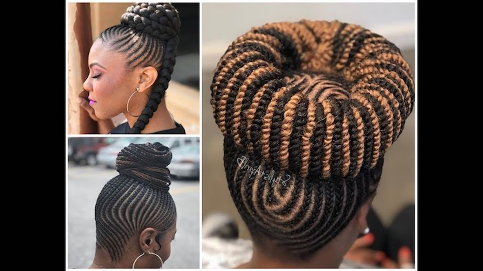 different hairstyles, on black hair, side by side photos, nigerian cornrow hairstyles