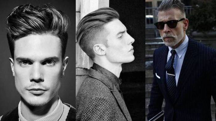 medium length hair men, side by side photos, three different hairstyles
