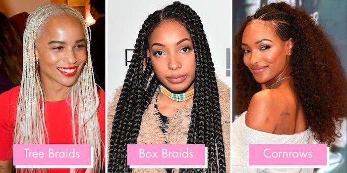 tree braids, box braids, what are cornrows, nigerian cornrow hairstyles, side by side photos, zoe kravitz