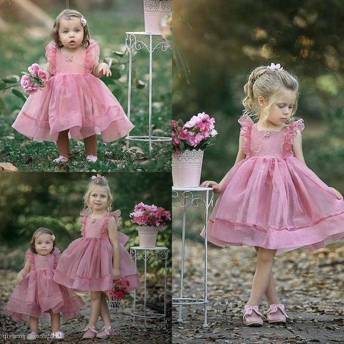 side by side photos, pink tulle dress, blonde hair, toddler girl, cute dresses for girls, flower bouquets
