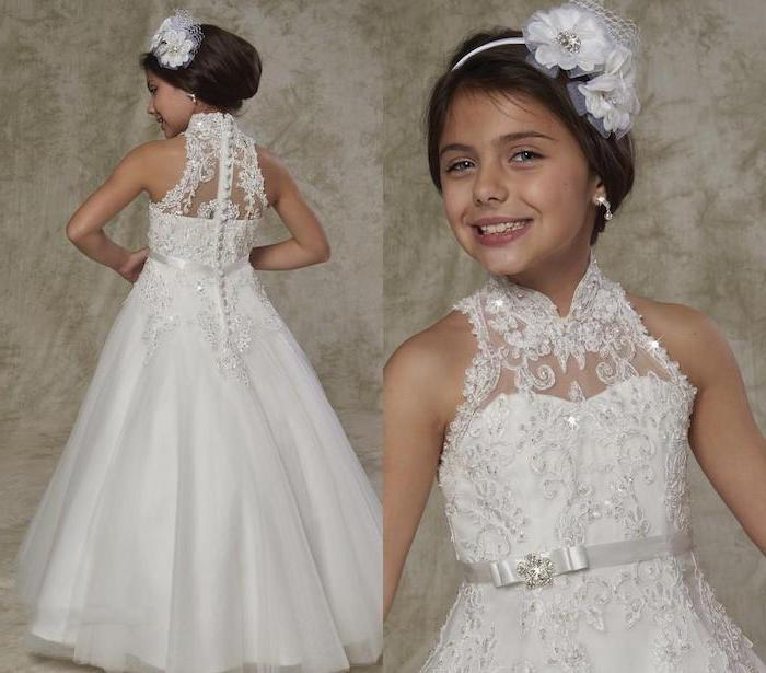 white dresses for girls, white lace and tulle dress, brown hair, in a low updo, white flower diadem