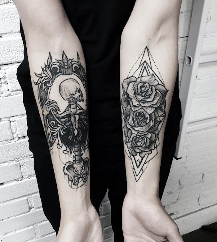 human skeleton on one hand, roses on the other, cool arm tattoos, white brick wall