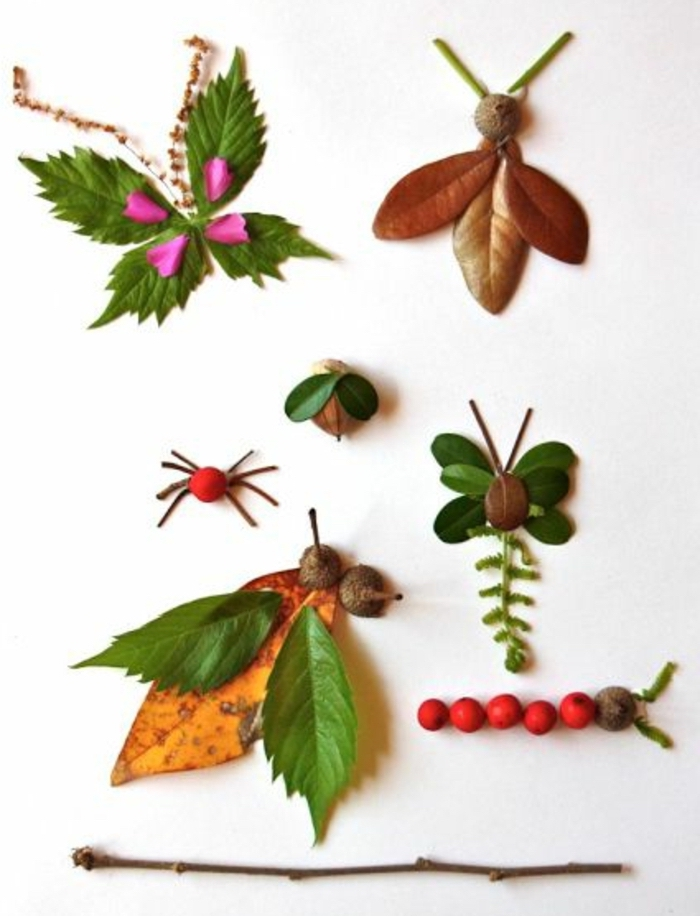 different insects, made of leaves, fruits and flowers, preschool classroom games
