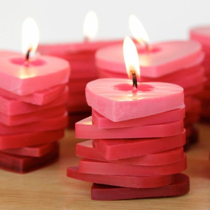 small heart stacks, made of candle wax, lit up, how to make candles