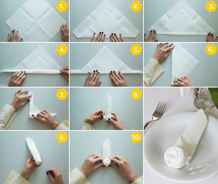 white napkin, rose shaped, diy tutorial, how to fold napkins fancy, step by step