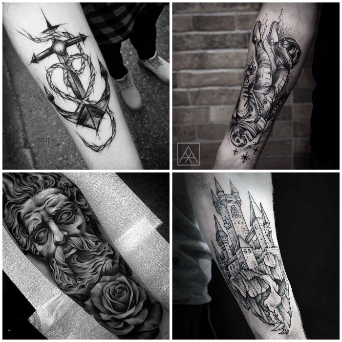 inner forearm tattoos, side by side photos, anchor and castle, religious theme, skeleton astronaut