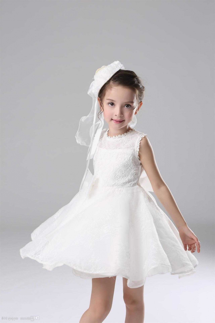 small white hat, white dresses for girls, made of lace and tulle, white background, black hair