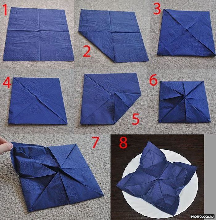 blue napkin, star shaped, diy tutorial, step by step, how to fold napkins fancy