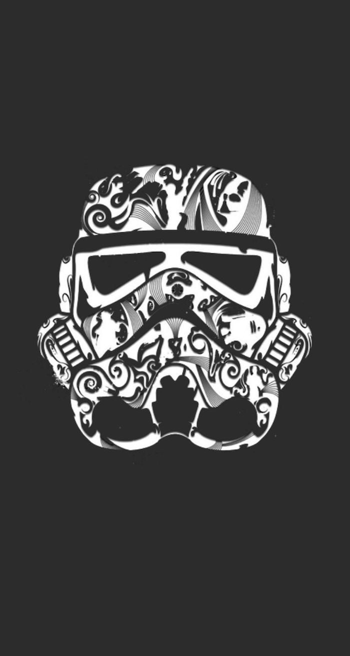 star wars inspired, floral stormtrooper helmet, flower background tumblr, black background