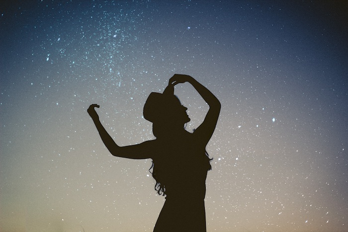 female silhouette, flower background tumblr, starry sky