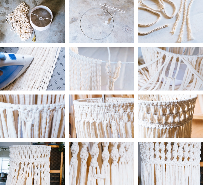 diy tutorial, step by step, how to macrame, macrame lamp shade
