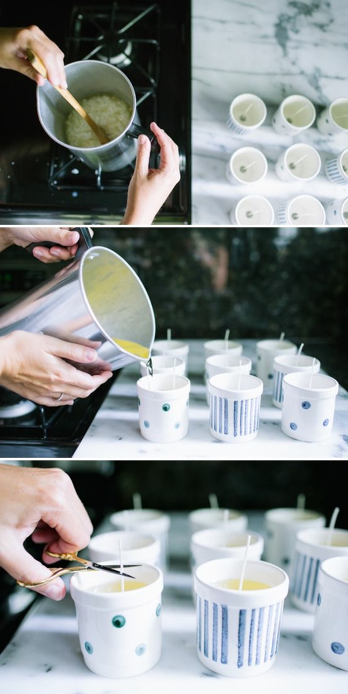 small round ceramic cups, how to make candles at home, marble countertop, diy tutorial, step by step