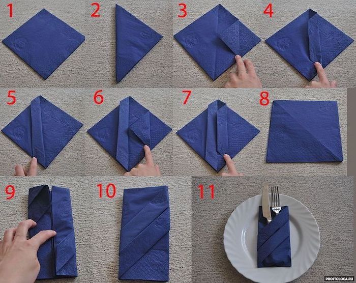 how to fold napkins with rings, blue napkin, silverware inside, white plate
