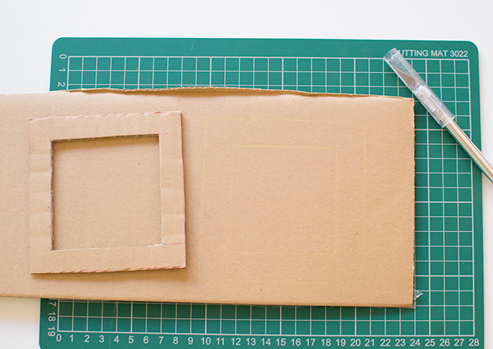 large ruler, photo frame, cut out of a carton, activities for 4 year olds, step by step, diy tutorial