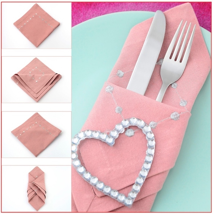 step by step, diy tutorial, napkin folding ideas, pink napkin, silverware inside