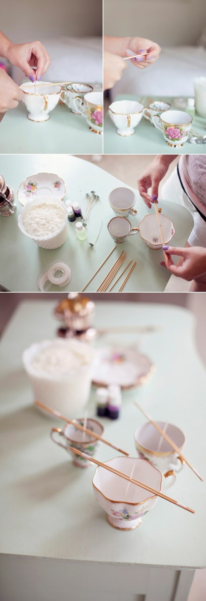 step by step, diy tutorial, how to make candles, vintage teacups, filled with candle wax