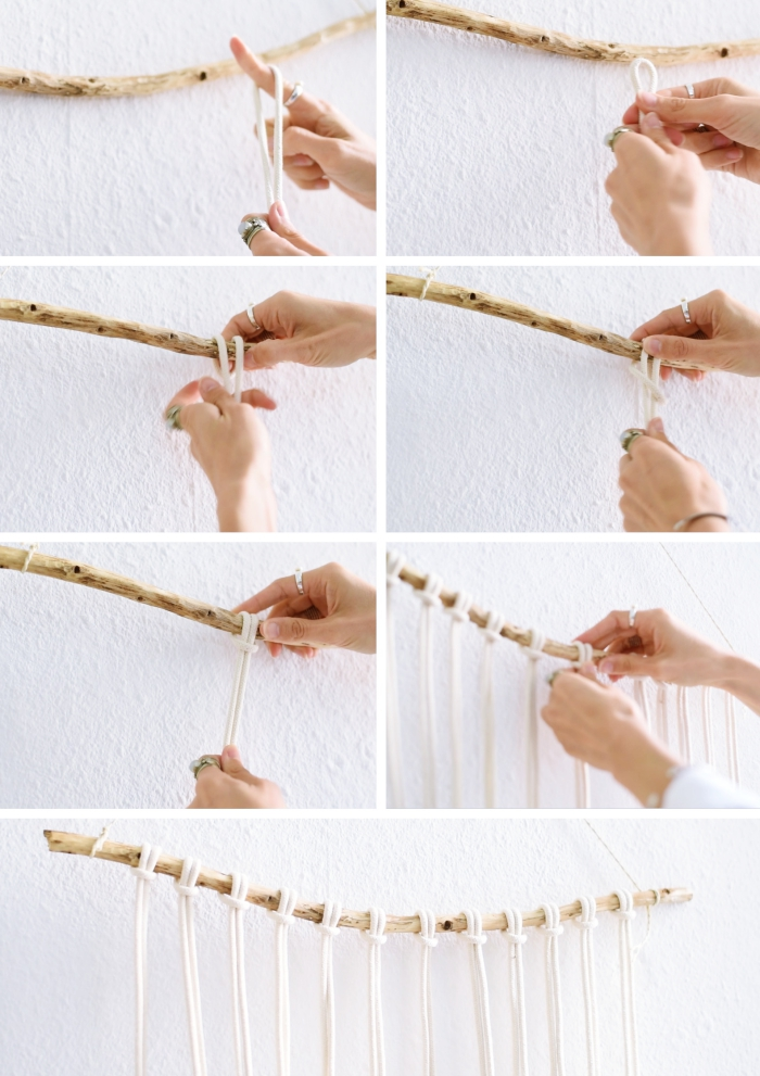 how to macrame, step by step, diy tutorial, white wall, wooden stick