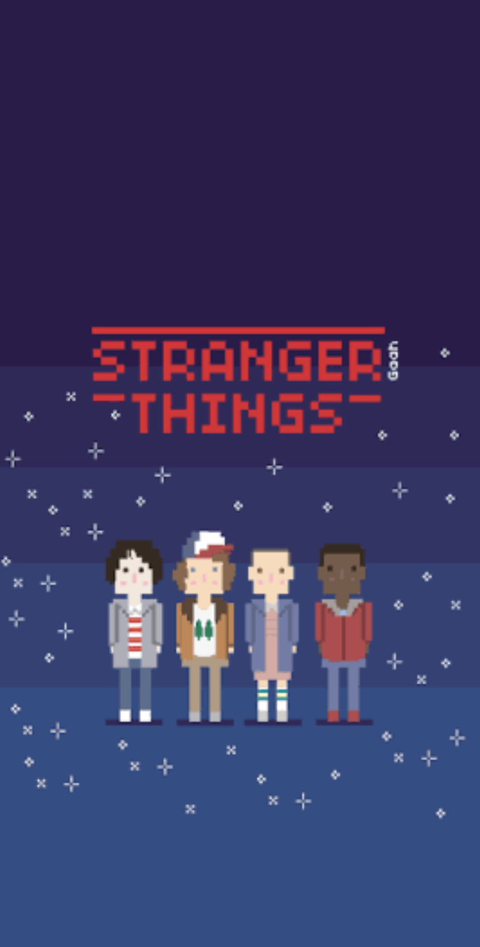 stranger things characters pixelated, summer iphone wallpaper, blue backgorund