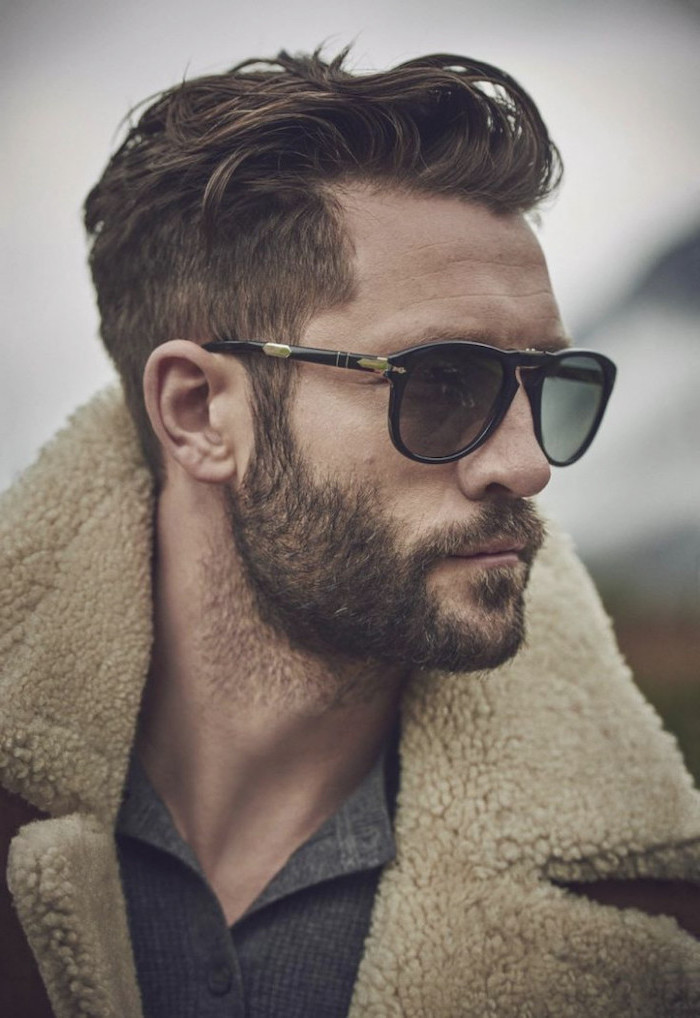 man wearing sunglasses, wearing a coat, cool haircuts for boys, brown hair