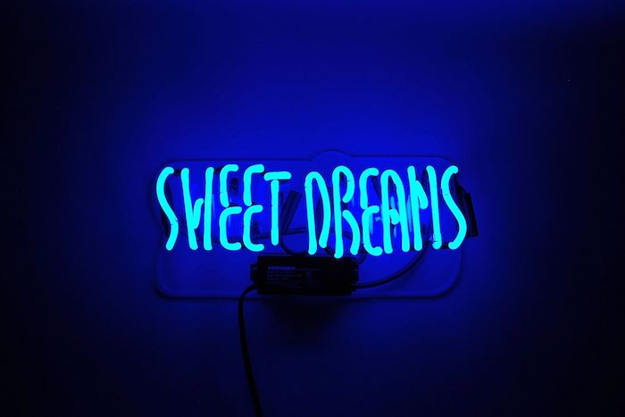 sweet dreams, neon sign, flower wallpaper tumblr, dark blue background