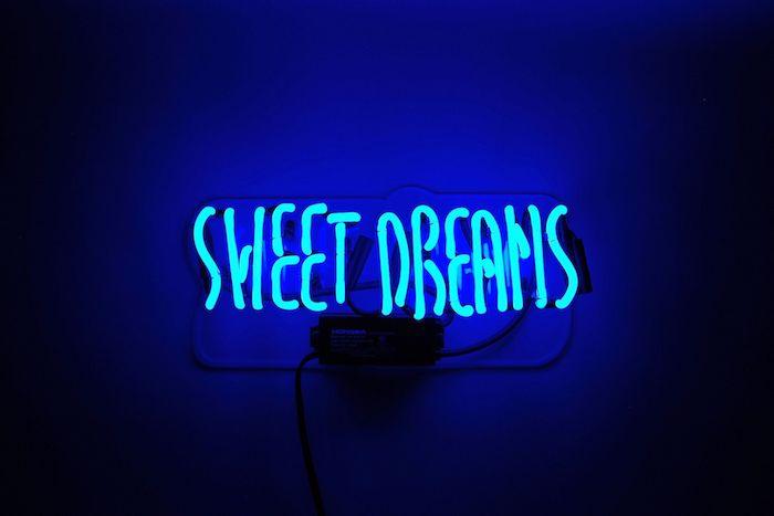 sweet dreams, neon sign, flower wallpaper tumblr, dark blue background