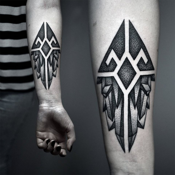 geometrical tattoo, small tattoo ideas for men, side by side photos, grey background