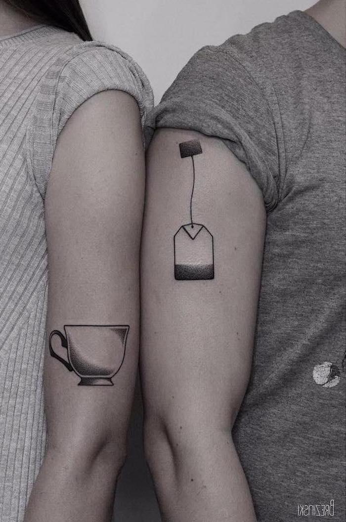 tea cup, tea bag, shoulder tattoos, couple tattoos small, grey sweater and shirt
