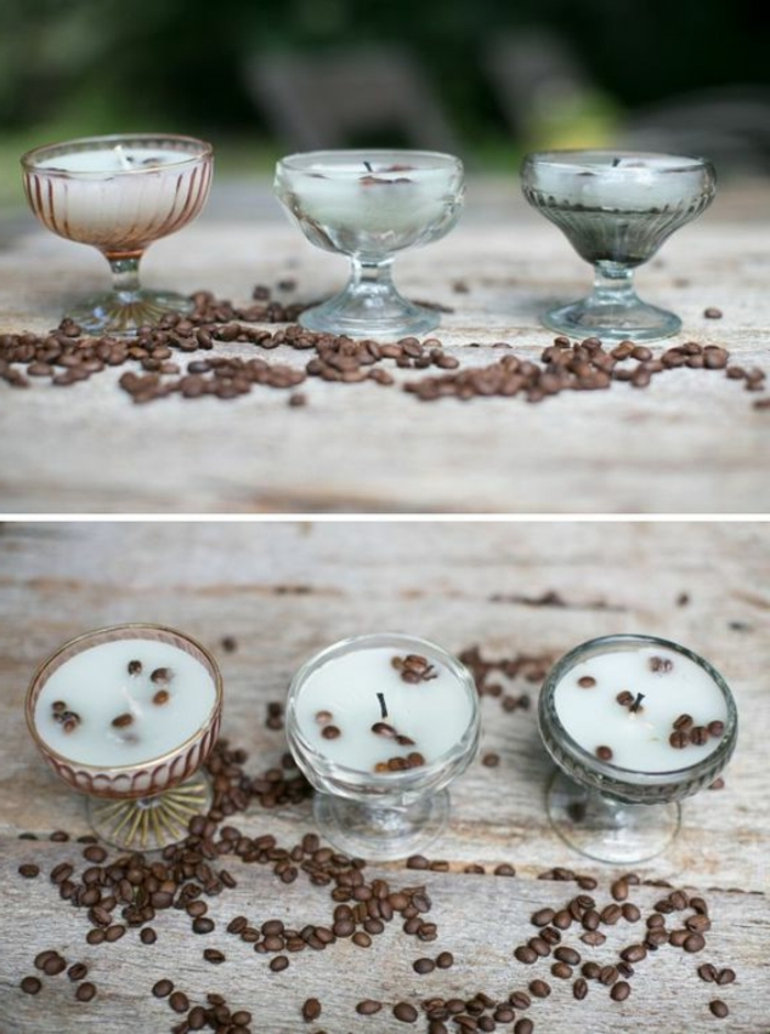 how to make candles, three whiskey glasses, filled with candle wax, mixed with coffee beans, scattered around