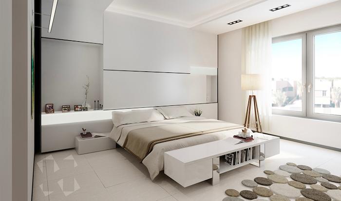 pinterest bedroom, tiled floor, white walls, led lights, white shelves and night stand