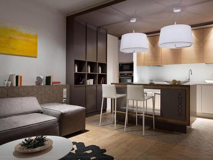 wooden and grey cabinets wooden floor, tiled floor, floating kitchen island, white bar stools