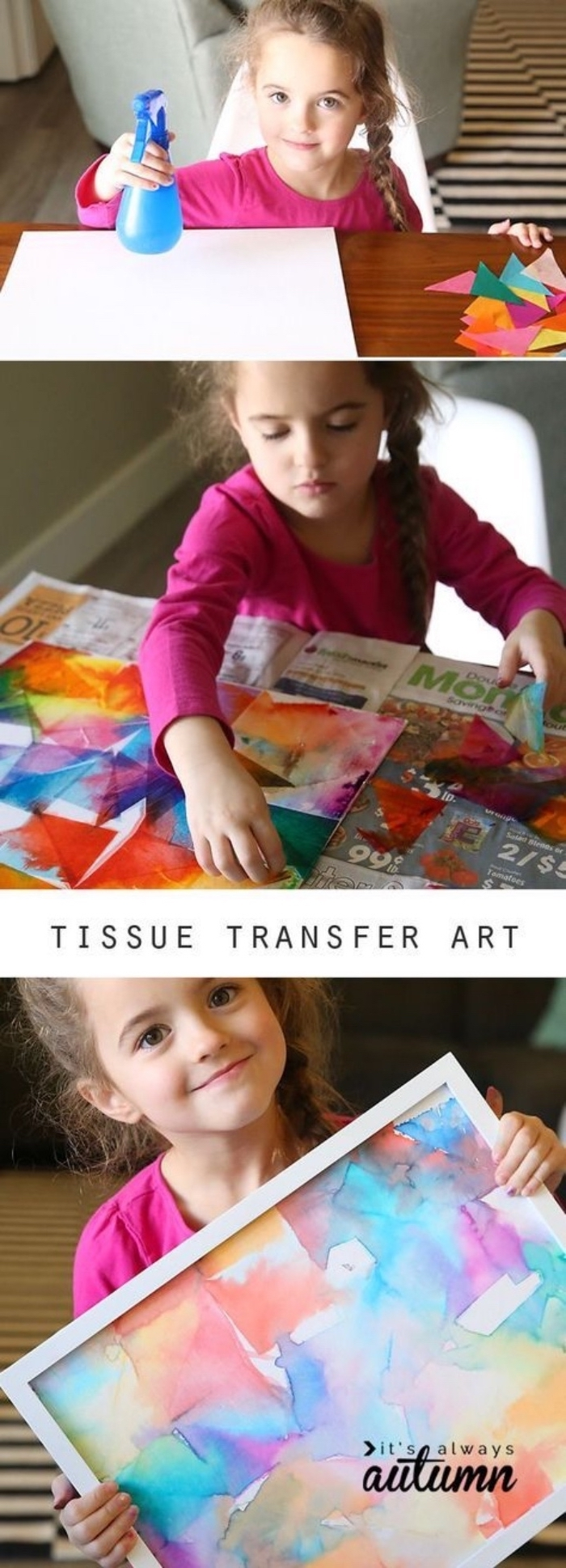 tissue transfer art, preschool classroom games, girl painting, in a white frame, step by step, diy tutorial