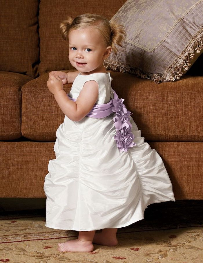 blonde hair, in two ponytails, toddler girl, white dress, purple ribbon, white dresses for girls