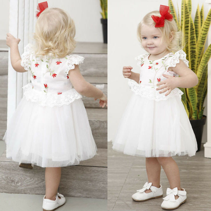white tulle bottom, red flowers top, red hair bow, white dresses for girls, white shoes, wooden floor