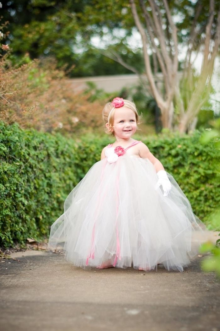 toddler girl, little girl dresses, white tulle dress, pink roses, white satin gloves, pink hair accessory