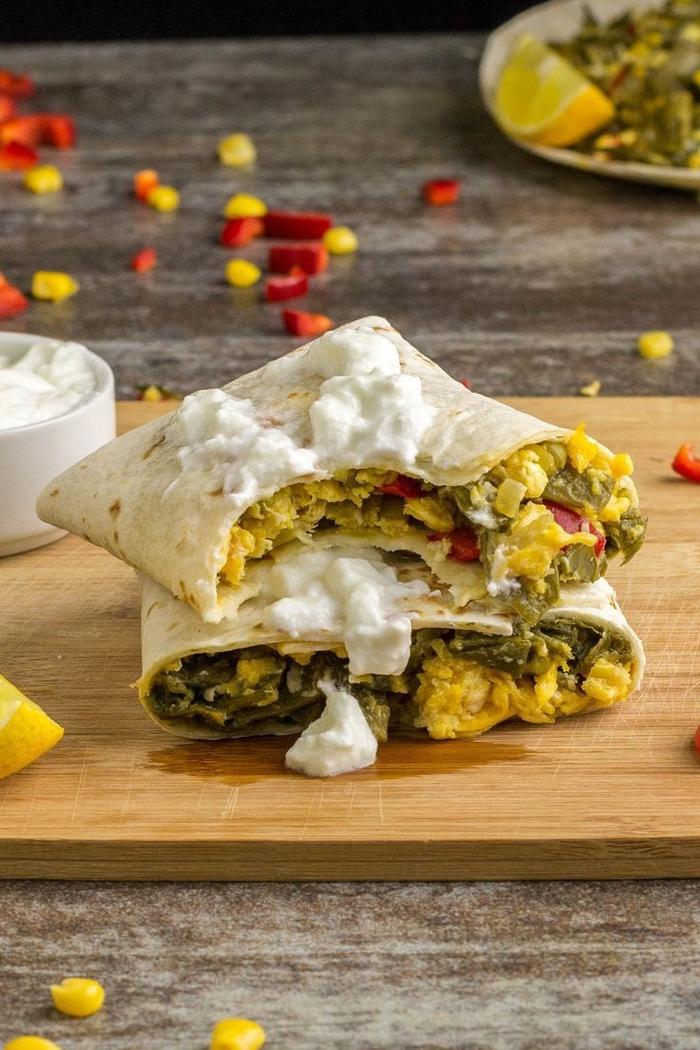 wrapped burrito, avocado and eggs inside, cream cheese, vegetarian super bowl recipes