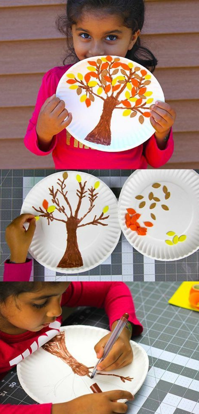 little girl holding up a paper plate, tree drawn on it, small group activities for preschoolers