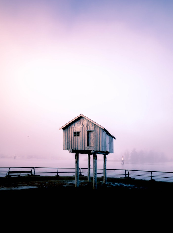 tree house, on a pier, tumblr screensavers, surrounded by fog, over a lake