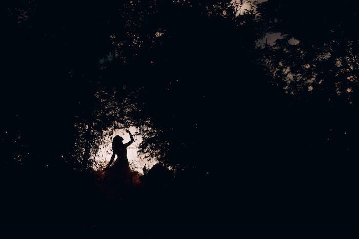female silhouette, tumblr screensavers, black trees